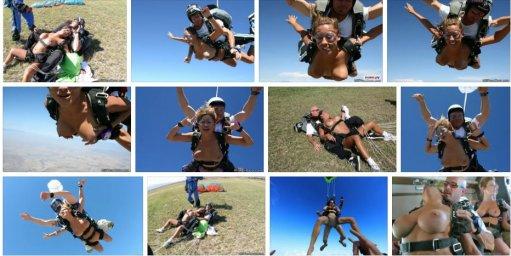 Голая спрыгнула с парашюта
