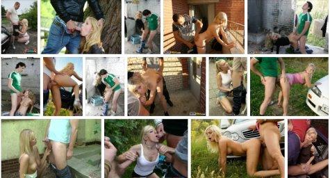Блондинка дала парню за гаражами