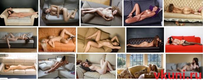 Голая девушка лежит на диване